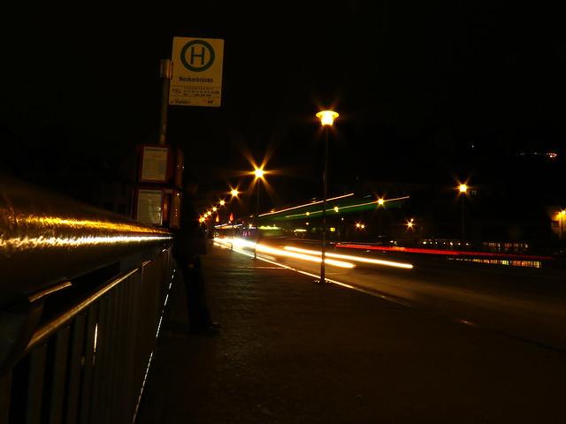 Canon SX60 HS -  SOOC straight out of camera  Bus traffic. Bushaltestelle Neckar-bridge Neckarbrücke