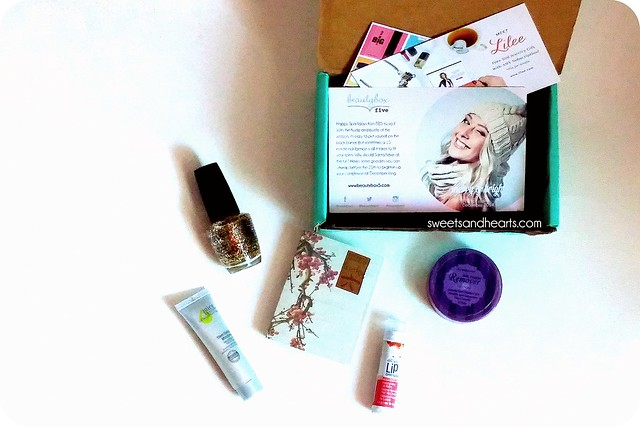 "Beauty Box 5 December Review + Unboxing with Nanacoco - Gold glitter nail polish, Lucky Brand - ""Lucky Number 6"" fragrance,  Absolute! New York - Nail polish remover pads,  Body Drench - Lip Drench lip balm in Pomegranate, Juice Beauty - Stem Cellular Moisturizer"