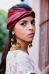 hairstyle, model, clothing, head, hair, fashion, photo shoot, turban, beauty, portrait, headgear,
