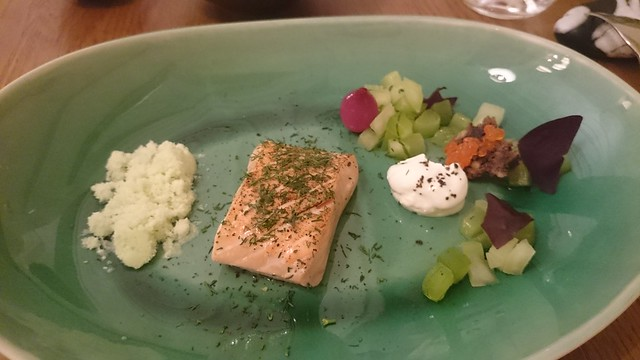 Texture - salmon, cucumber snow, pickled cucumber and apple