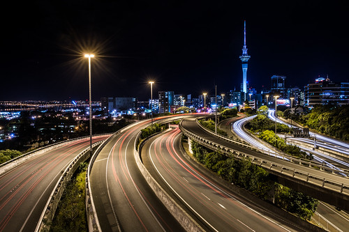 newzealand cityscape motorway junction auckland skytower spaghetti flyover sh1