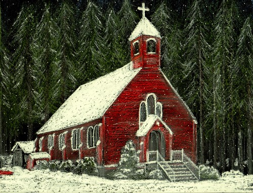 Little Red Church in Snow