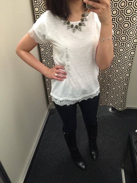 LOFT Outlet Lace Sleeve/Hem Tee (style no. 358282)