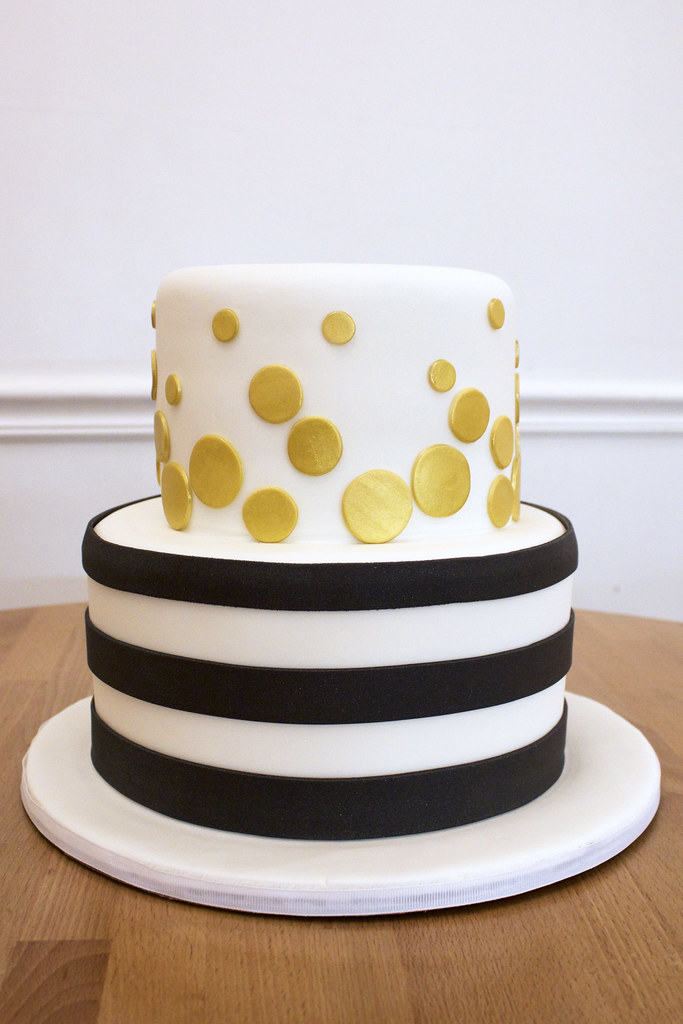 Black And White Stripe Cake With Gold Confetti