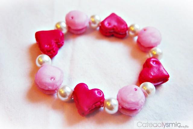 Pink Love Heart Macaron Bracelet