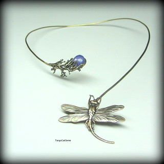 Lavender Chalcedony Dragonfly Necklace