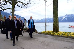U.S. Secretary of State John Kerry walks along Lake Geneva in Montreux, Switzerland, on March 2, 2015, en route to resume negotiations with Iranian Foreign Minister Javad Zarif about the future of his country's nuclear program. [State Department photo/ Public Domain]