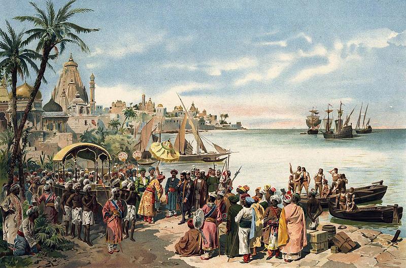 Vasco da Gama retinue meets the reception party of the Bale of Calicut by Roque Gameiro