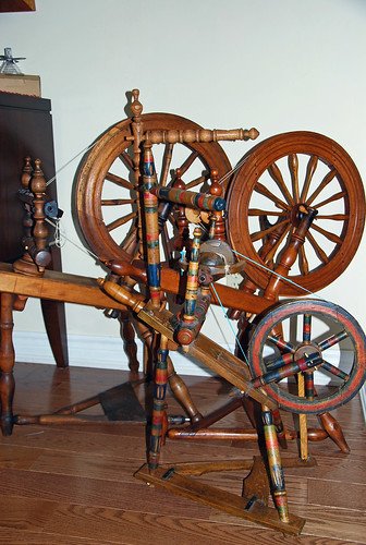 Antique flax saxony spinning wheels acquired in Canada