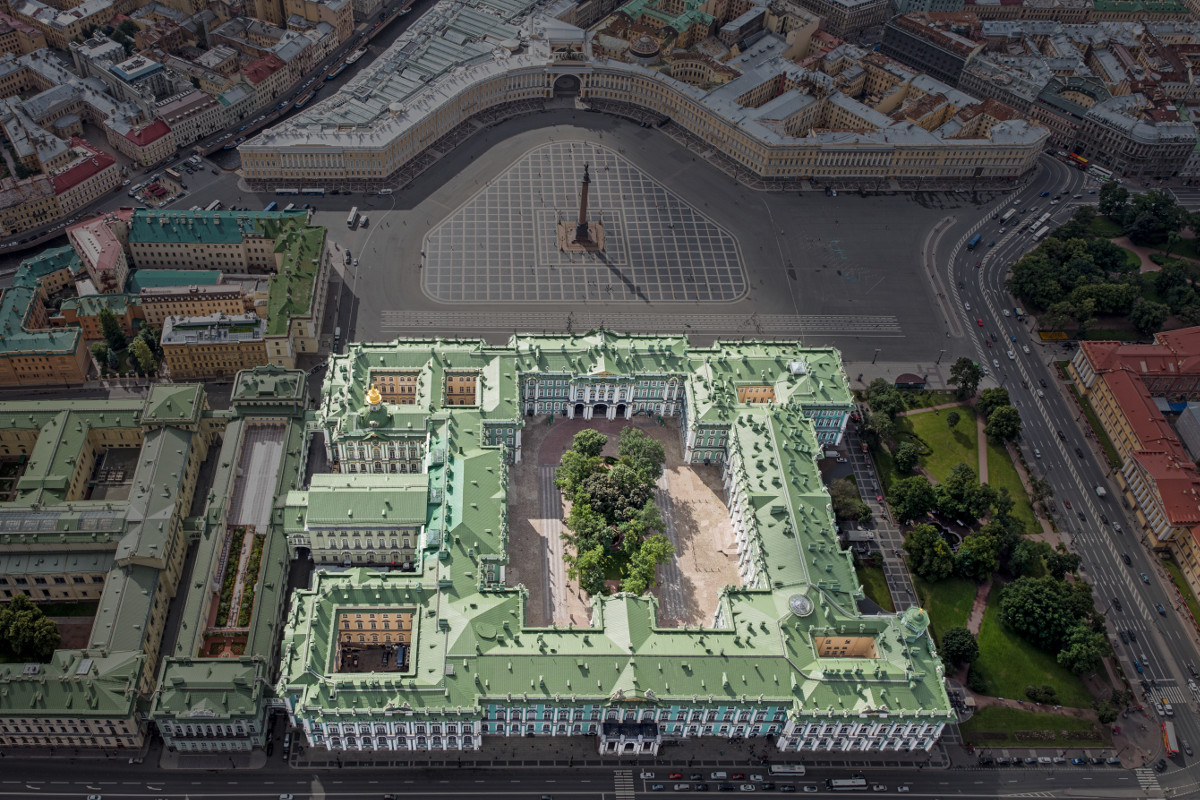 Aerial view of Winter Palace with Palace Square and surrounding buildings for comparison