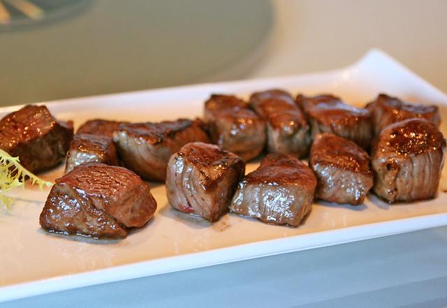 Sauteed Angus beef tenderloin cubes
