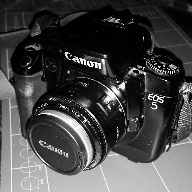 Canon EOS5 loaded with black and white film.