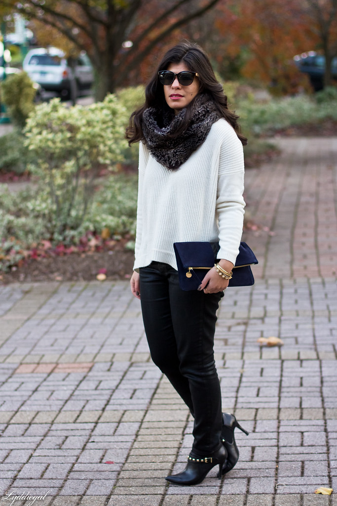 white sweater, black coated jeans, fur cowl-1.jpg