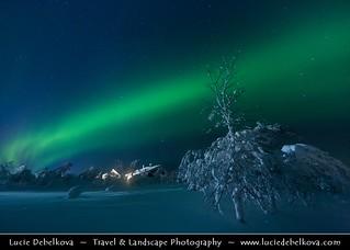 Finland - Frozen world of Arctic Lapland under Northern Lights