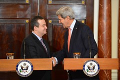 U.S. Secretary of State John Kerry shakes hands with Serbian Foreign Minister Ivica Dacic after the counterparts addressed reporters at the U.S. Department of State in Washington, D.C., on February 26, 2015. [State Department photo/ Public Domain]