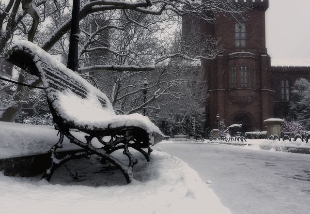 Snow Falling at the Smithsonian Castle