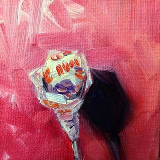 """Dum-Dums Original Pops Fruit Punch"" 4x4"" oil on canvas; daily painting no 71 #dailypainting #paintingaday #oilpainting #painting #art #sucker #lollipop"