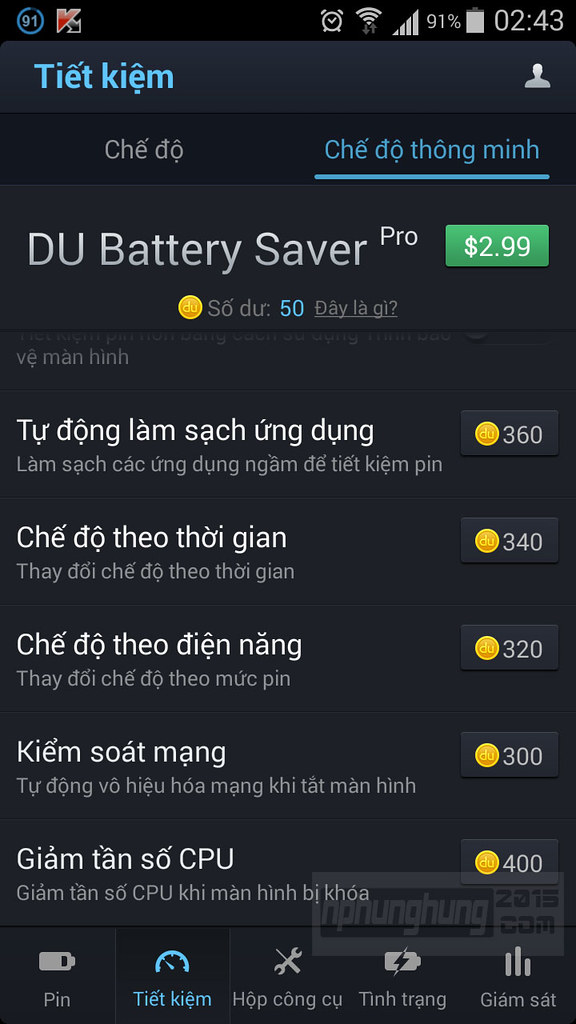 Chế độ thông minh DU Battery Saver