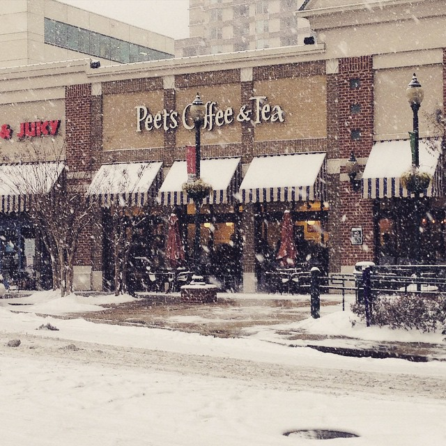 Thank god @peetscoffee in Silver Spring is open during the snowstorm. They are incredibly nice people who always remember my coffee order.