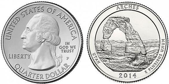 25 Centov USA 2014 S, Národný park Arches