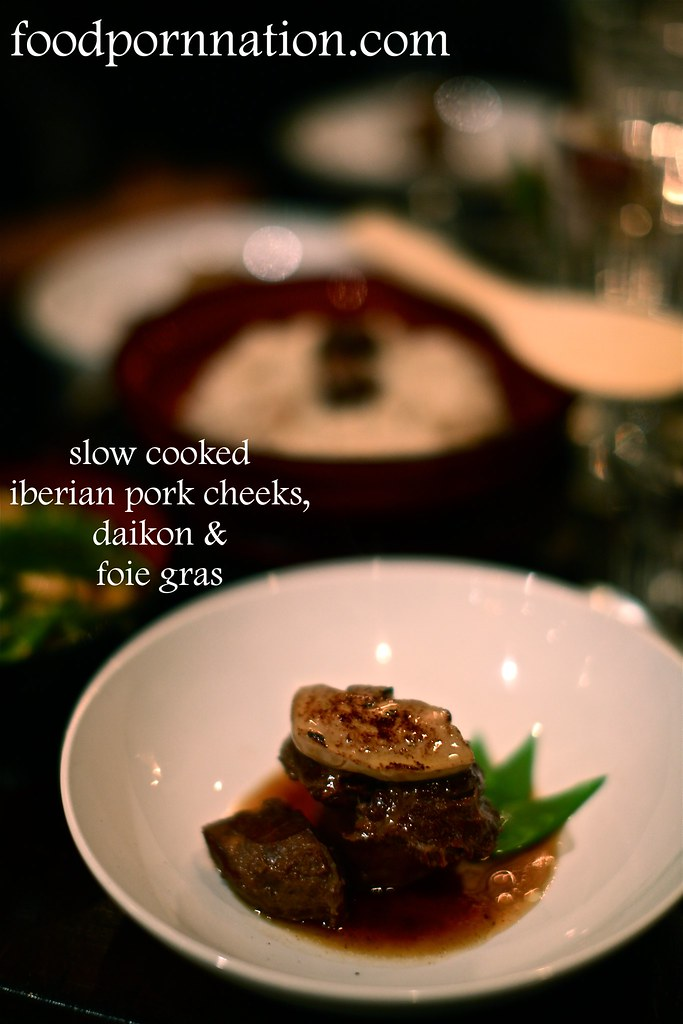 Iberian Pork Cheeks, Daikon, Foie Gras, Slow-Cooked in Soy Sauce, Sake, Brown Sugar and Ginger