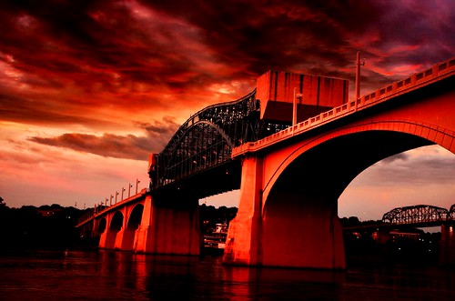 blue red sky orange white reflection water yellow lights haze flickr tennessee northshore tennesseeriver grayclouds chattanoogatn marketstreetbridge fireinthesky2