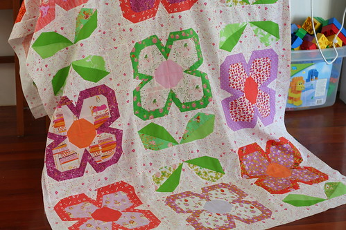 Swedish Bloom quilt top in progress