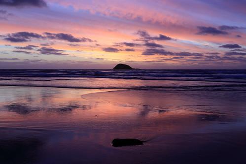 sunset newzealand landscape coast auckland nz tasmansea muriwai