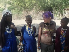 with local Maasai women