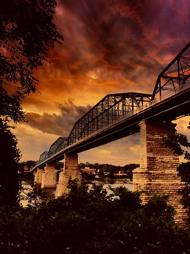 blue trees red orange chattanooga water yellow clouds flickr tn northshore tennesse walnutstreetbridge tennesseeriver coolidgepark fireinthesky3