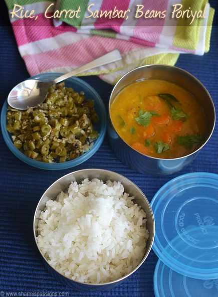 Rice Carrot Sambar And Bean Poriyal I Am Really Not Sure Whether These Days Kids Pack Such South Indian Lunchbox Recipes