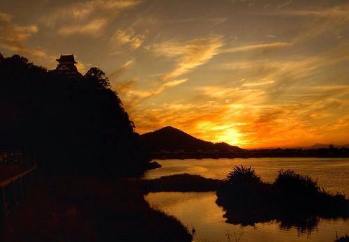 sunset castle japan