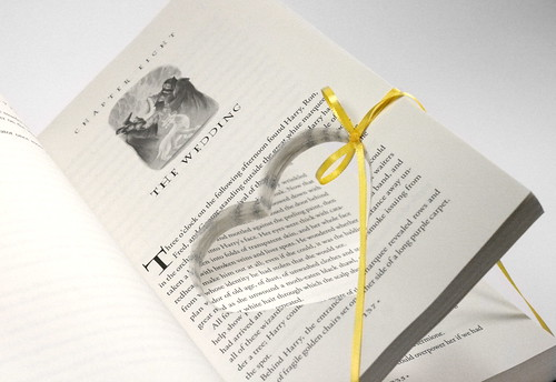 Harry Potter Deathly Hallows The Wedding Heart Cut Ring Holder Hollow Book - Handmade