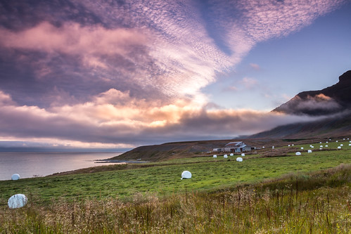 westfjords iceland island house sunset epic evening canon glow clouds weather sky water fjord núpur