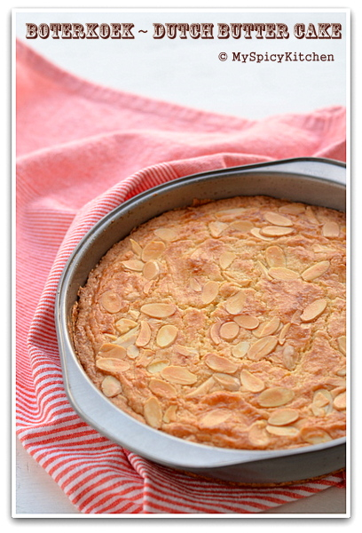 Boterkoek or Dutch butter cake in a cake pan