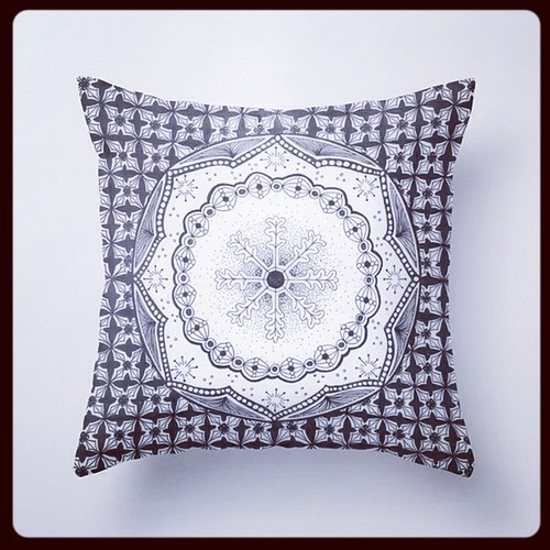 Holly & Snowflake Throw Pillow on Society6