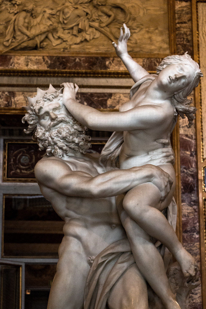 Abduction of Proserpina, where Proserpina is seized and taken to the underworld by the god Pluto.