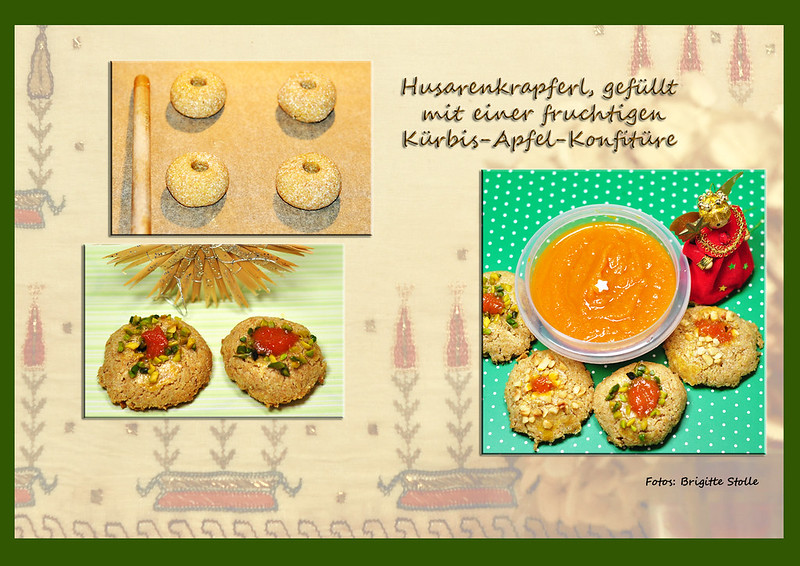 Backblog Backen Rezept Weihnachten Gebäck Husarenkrapferl Konfitüre Marmelade Kürbiskonfitüre Kürbis-Apfel-Konfitüre Rezept Foto Brigitte Stolle
