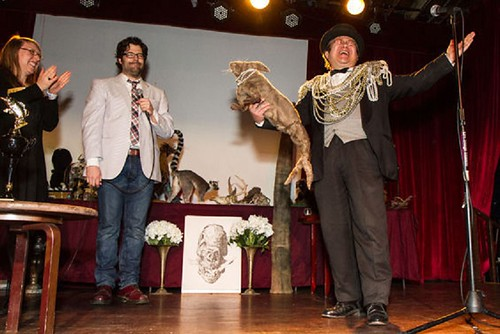 Dr. Takeshi Yamada and Seara (sea rabbit) won the BEST IN SHOW 2014, FIRST PRIZE at the Carnivorous Nights: Taxidermy Contest with his Odyssey Monster and Space Alien Skull at the Bell House in Brooklyn, NY on April 6, 2014. Village Voice photo