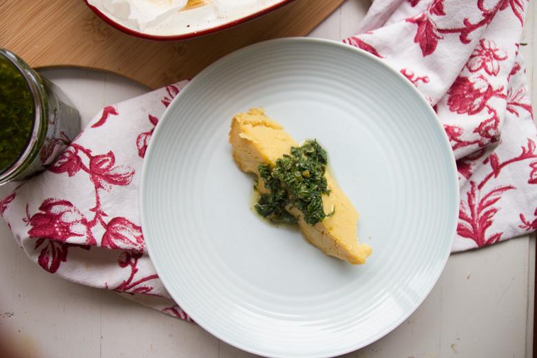 chickpea farinata + salsa verde