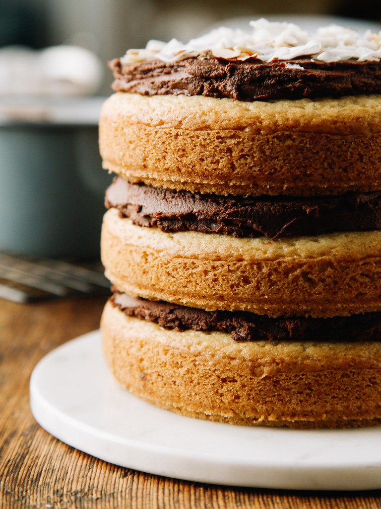 Almond cake with chocolate-coconut frosting