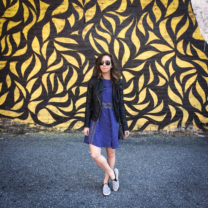 fashion blogger. va darling. a viza style. printed silk madewell dress. faux leather zara jacket. joie kidmore shoes. spring outfit. brunch. andrea viza 11