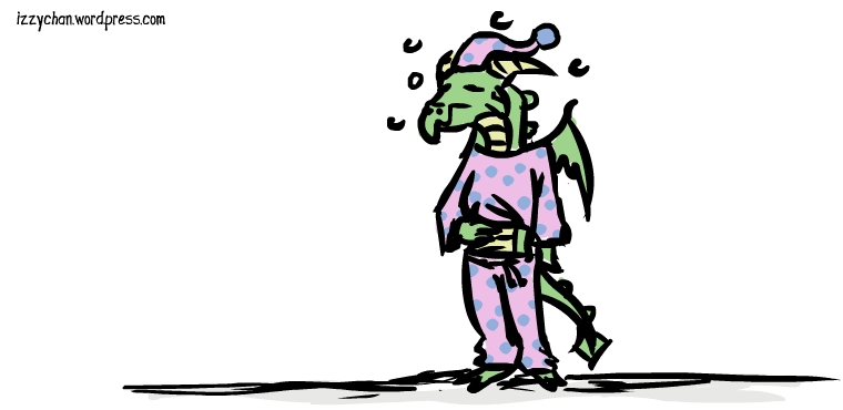 sleepy dragon in pajamas