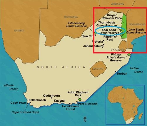 Mapa del Parque Kruger de Sudáfrica con Sabi Sand destacado