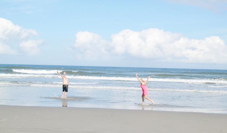 Skim boarding on New Smyrna Beach