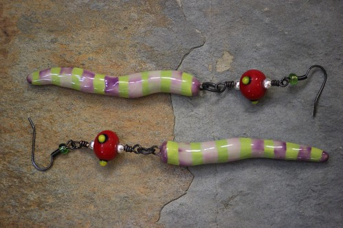 Whimsical Porcelain Tooth Bead With Red Glass Bead Earring Set E-0212