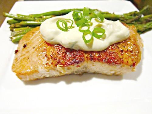 Seared Salmon with Wasabi and Lemon Cream Sauce 002