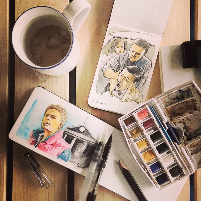 Moleskine watercolor notebook (pocket) becomes our favorite medium for portable painting #mobilepainter #cafepainter