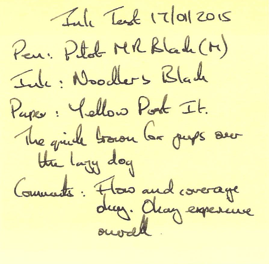 Noodler's Black Ink Review - Yellow Post-It