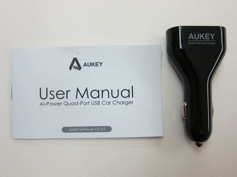 Aukey 48W 9.6A 4-Port Car Charger - Box Contents